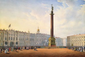 View of Palace Square and the Winter Palace in St. Petersburg, 1847 Sadovnikov Vasily Semenovich
