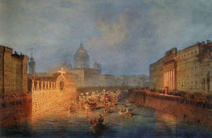 Illumination on the Moika Embankment in St. Petersburg, 1856 Sadovnikov Vasily Semenovich