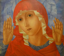 Kuzma Petrov-Vodkin 1878-1939. The Mother of God of Tenderness Towards Evil Hearts. 1914-1915